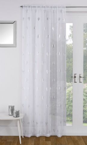 SHIMMERY METALLIC SILVER BIRCH TREES WHITE VOILE NET CURTAIN PANEL/S SLOT TOP